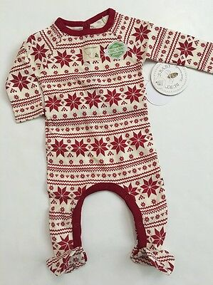 Burts Bees Baby Girl Organic Coverall Pajamas Size 3 6 9 Months Red Snowflake