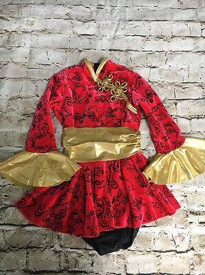 Costume Gallery Girls Red Gold Black Dance Leotard Size Medium Child