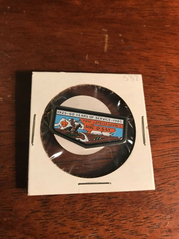 Mic-O-Say Pony Express Council 60 years of service Hat Pin  Boy Scouts 22-145L