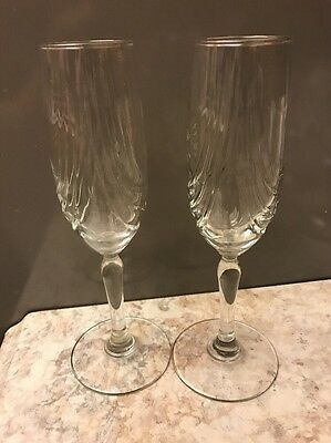 2 Royal Crystal Rock Magnolia Deep Cut Crystal Champagne Flutes Glasses Royal Crystal Rock Magnolia