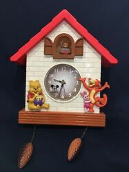 Vintage Disney Winnie The Pooh Tigger CUCKOO CLOCK Musical #8500 £