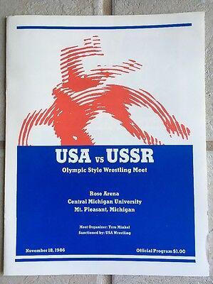 RARE 1986 USA vs USSR Greco Roman Wrestling Scorebook & Autograph Program RUSSIA