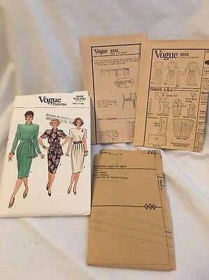 Vintage VOGUE 9342 Dress Pattern Woman's 12-14-16 UNCUT 1985 Free Shipping