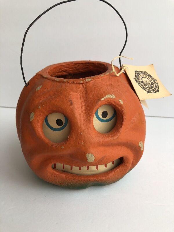 VINTAGE Styled Paper Pulp/Mache Jack O Lantern PUMPKIN Seasons Gone By Halloween