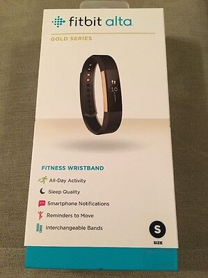 New Fitbit Alta Fitness Tracker -Special Edition Black/Gold Size Small, Sealed