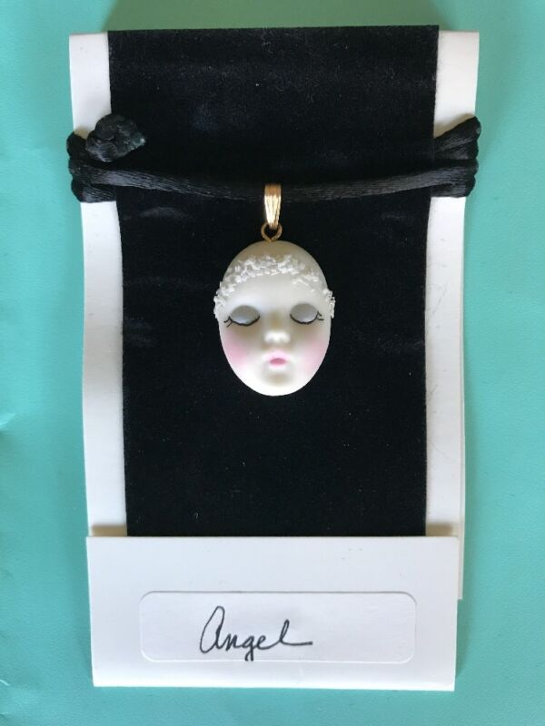 """""""Angel """" Holiday Adagio Face Glitter Halo Necklace Hand-Painted Porcelain"""