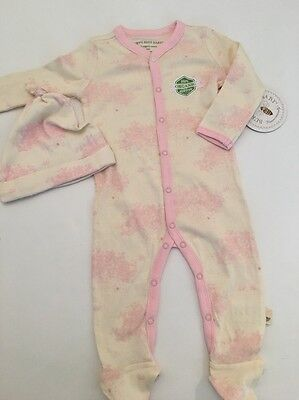 Burts Bees Baby Girls Organic Coverall Hat Outfit Set Size 3 6 Months Ivory Pink