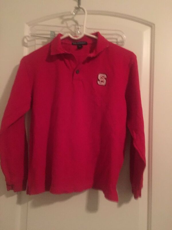 North Carolina State Yout Kids Port Authority Polo Shirt Top Sz L Red Clothes