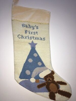 Baby's First Christmas Needlepoint Stocking By North Pole Trading Co Boys