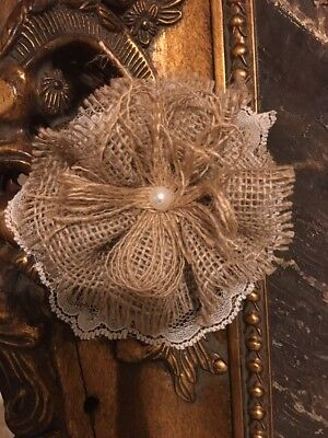 """3""""Burlap Lace Flowers Tan Ticking Shabby Chic Wedding Country Cottage Table (Country Wedding Supplies)"""