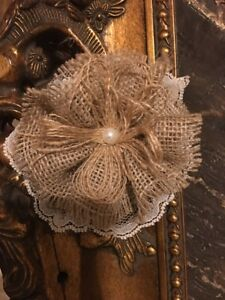 """3""""Burlap Lace Flowers Tan Ticking Shabby Chic Wedding Country Cottage Table"""