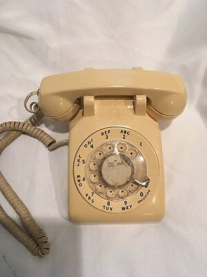 1980's Yellow Western Electric Bell System 500 Rotary Desk Telephone Vintage