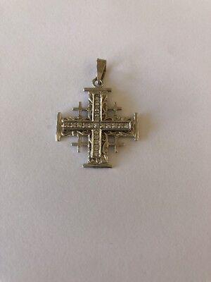 18k White Gold Pave Diamond Pendant (18K White Gold Jerusalem Cross Diamond Pave  Pendant)
