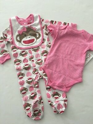 Sock Monkey Mädchen (Sock Monkey Baby Girl Coverall Bodysuit Bib Set Size 6 9 Months Layette Pink )