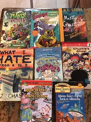 Set 8 Mixed Ghostly Mad Scientist Spooky Halloween Books Ages 5 to 10 RL1 & RL3  - Rl Halloween Mix