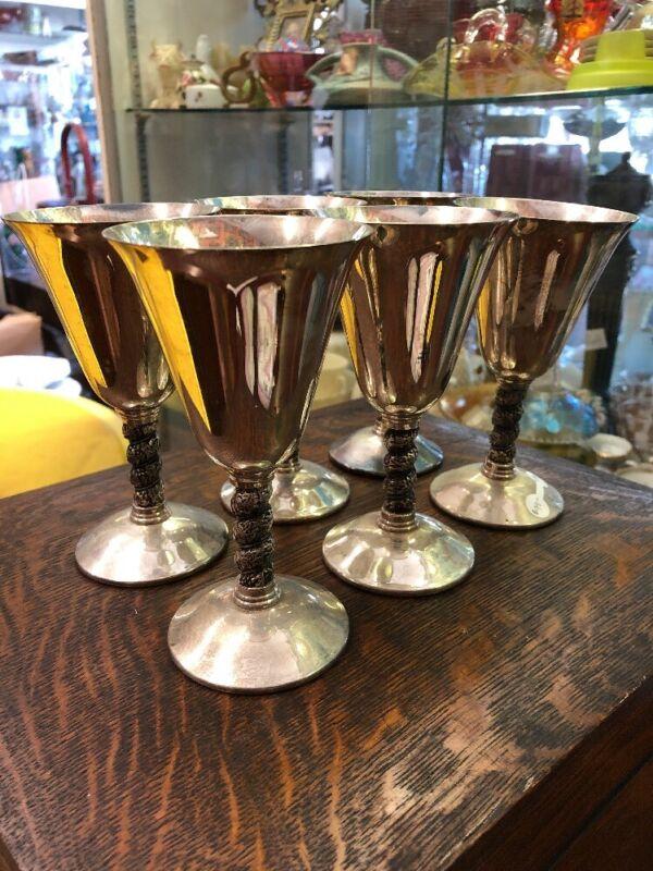 Vintage Antique Set Of Six Silver Plate Wine Goblets Glass Toasting Bridal