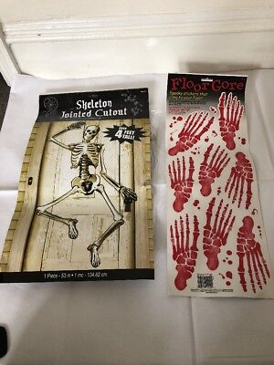 Halloween Hanging Skeleton Decoration Jointed Large 1.4m & Floor Gores Chop - Halloween Floor 1