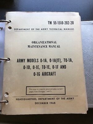 AIRCRAFT ORGANIZATION MAINTENANCE MANUAL O-1A -1E -1F -1G ARMY CESSNA 305A for sale  Cumming