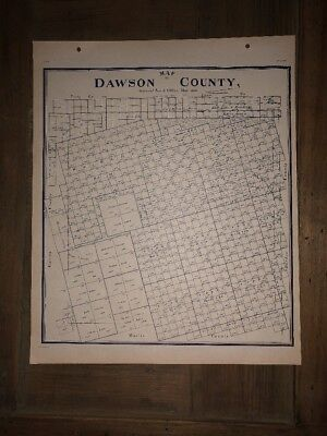 1900 DAWSON COUNTY TEXAS MAP LAND OFFICE AUSTIN BLUE LINE ANTIQUE VINTAGE