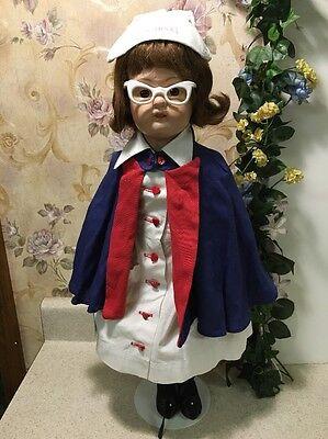 "Rare Antique SCHOENHUT Wood Jointed Nurse Doll 22"" w/ glasses & hat"