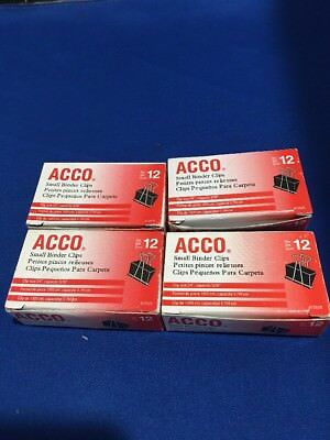 Acco Binder Clips Small Black 12box - Pack Of 4 Boxes 48 Clips 34