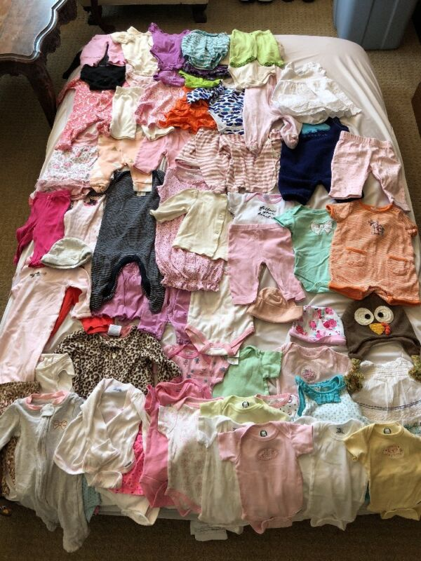 Gerber, Baby Gap, And More Lot: 55 Pieces Size 0-3 Months Old