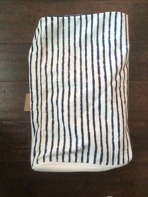 New West Elm Outdoor pouf cover pinstripe Ink MSRP $199 ()