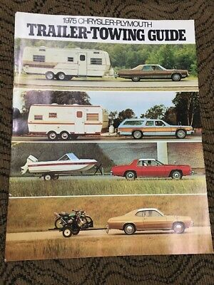 Brochure Catalog Guide - 1975 Chrysler Plymouth Trailer Towing Guide sales brochure Pamphlet catalog