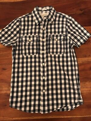 abercrombie fitch Mens Muscle Small Gingham Short Sleeve Button Up Blue White