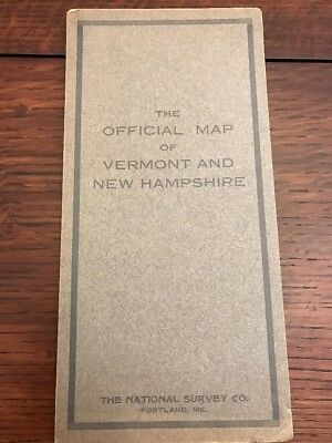 Vintage 1910s Official Map of Vermont and New Hampshire NATIONAL SURVEY CO MAP