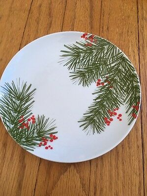 TAG LTD APPETIZER PLATE Pine Bough & Berries Holiday Christmas Crate & Barrel