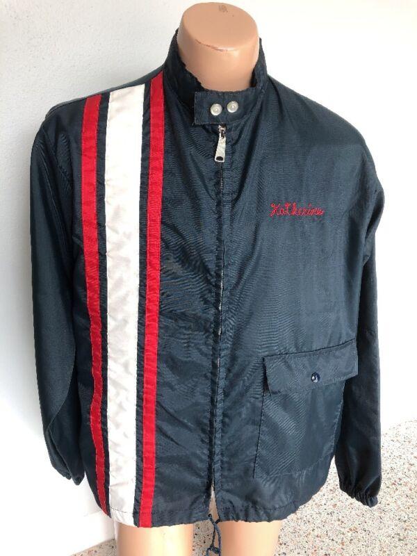 Vintage 70's Girl Scout Agses Racing Strip Nylon Windbreaker Jacket Lg