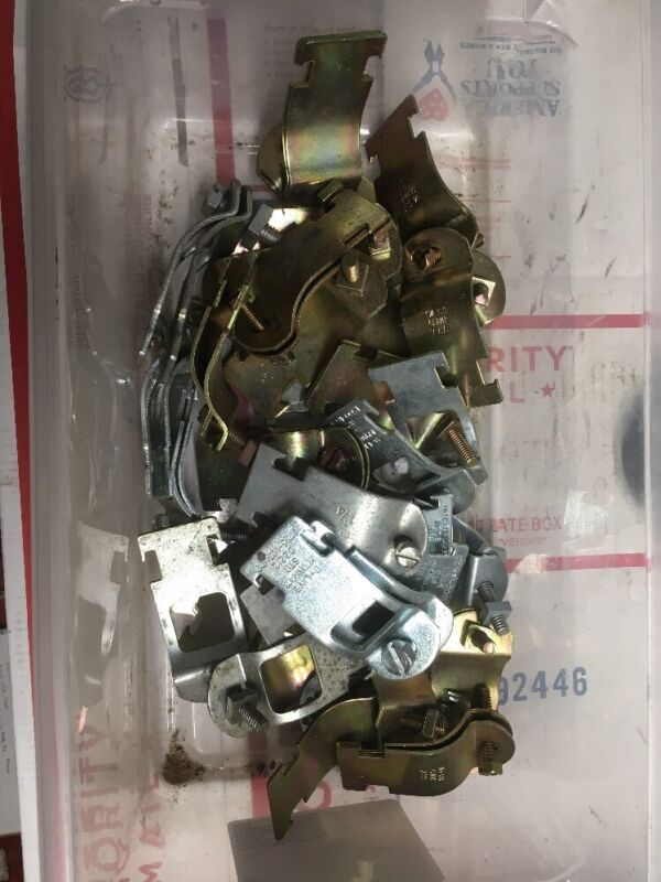 "Qty:28 Assorted 1-1/4"" Conduit EMT Strut Strap/s Pipe Clamp T&B B-Line"
