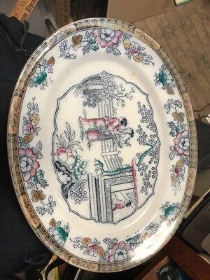 """1880s Gildea & Walker Transferware Oriental Platter, 14""""  Great Shape!"""