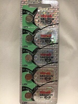 5 NEW MAXELL 371 SR920SW SILVER OXIDE BATTERIES USA SELLER FREE SHIPPING