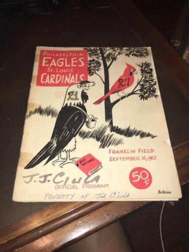 ST. LOUIS CARDINALS Vs. PHILADELPHIA EAGLES FOOTBALL PROGRAM September 16 1962 - $19.99