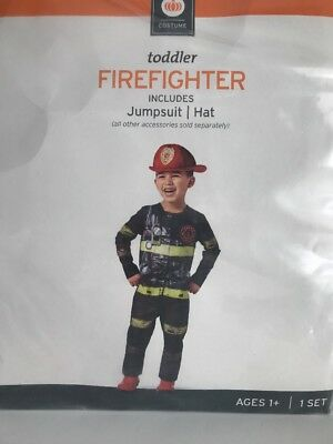 Toddler Firefighter Halloween Costume Jumpsuit  Hat 18-24 M   NIP  - Toddler Fireman Halloween Costume