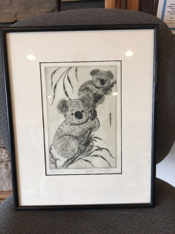 MARGARET ANN GAUG LISTED CHICAGO ARTIST SMALL SIGNED ETCHING Koalas