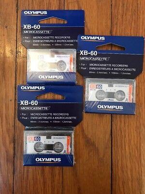 Olympus MicroCassette Micro Cassette Tape  MC-60 XB60 60 min Lot Of 3