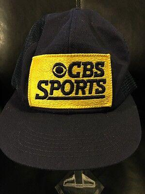 Vtg Cbs Sports Snapback Mesh Trucker Hat Navy Blue Yellow Logo