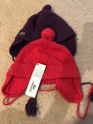 Lot Of 2 Lacoste  Hats. Youth Medium. Lambswool Cashmere Blend Retails $55 Each
