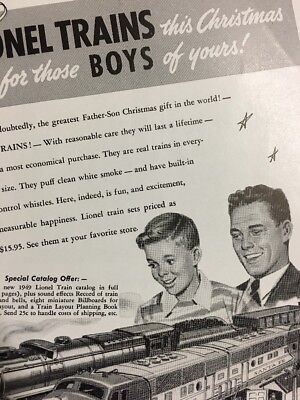 Vintage 1949 LIONEL Toy Train Set Father Son Christmas Gift Print Ad