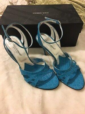 GUC Ladies/Women Dolce & Gabbana Turquoise Croc Print Strappy Heels. Size 37. Dolce & Gabbana Print Heels