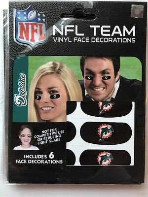 Miami Dolphins NFL Team Logo Eye Glare Black Vinyl Face Sticker Strips 6 Strips - Miami Dolphins Black Face