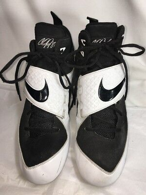 best sneakers 27eff 2d77b Nike Mens Calvin Johnson  81 CJ81 Size 11.5 Black White Football Cleats LH B