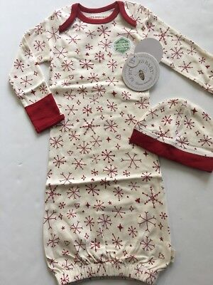 Burts Bees Baby Boy Girl Organic Gown Hat Size 0-6 Months Red Ivory Snowflakes