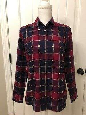 New Collection Thomas Mason for J.Crew Embellished Shirt in Tartan Sz 2 F9514