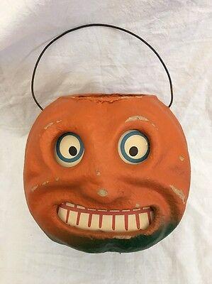VINTAGE Style Paper Pulp Jack O Lantern Smile PUMPKIN By SEASONS GONE Mache