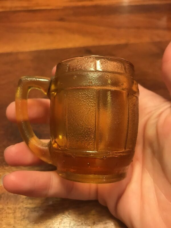 Barrel Beer MUG Shot Glass Toothpick Amber Child Continental Vintage (MA)