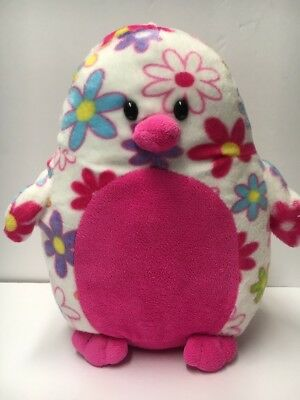 "Penguin Floral Pink FIESTA 11"" Plush Stuffed Animal Flowers Daisies Soft"